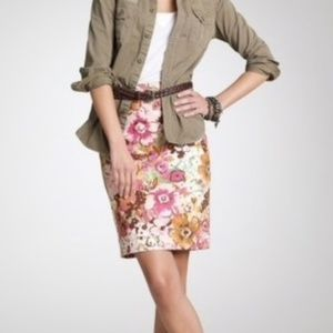 J. Crew Watercolor Floral Pastiche Pencil Skirt